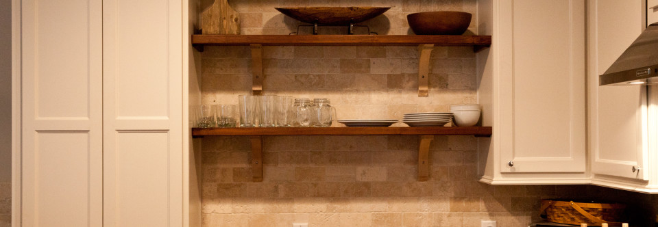 "Walnut shelves in kitchen to accent ""whalebone"" zero voc painted Maple Cabinets"