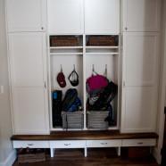Custom 1.5″ Thick Walnut Bench and Maple Plywood Locker System