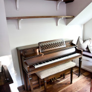 Custom Living Room Walnut Shelves