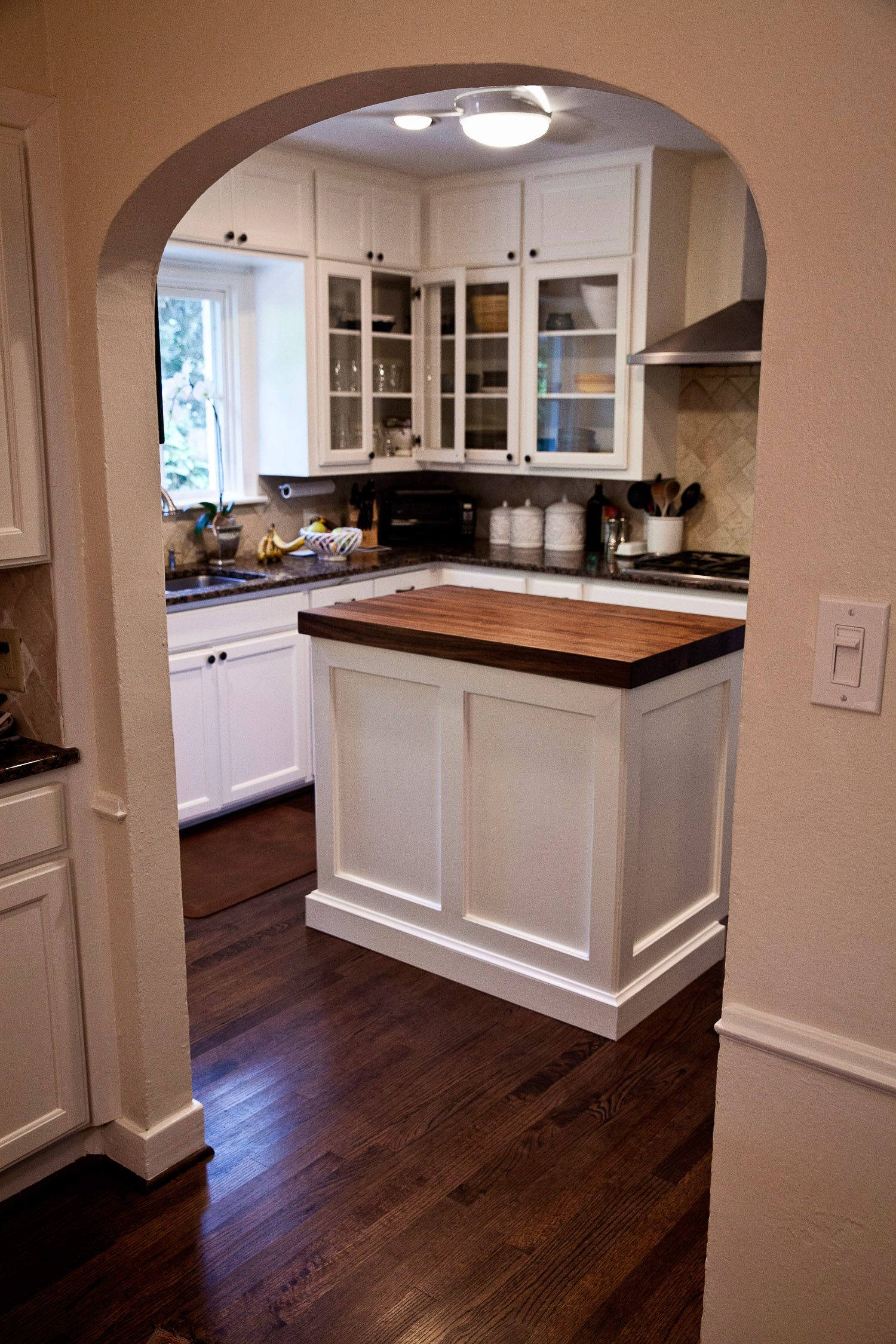 walnut kitchen island in west u install kitchen island Walnut Kitchen Butcher Block Island Install West University in Houston Texas